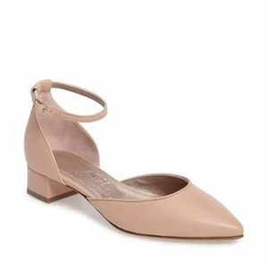 AGL D'Orsay Pointy Toe Ankle Strap Leather Flats